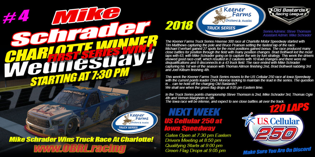 🏁Mike Schrader Wins Charlotte Motor Speedway Keener Farms Truck Race With A Full Field of 43 Drivers!