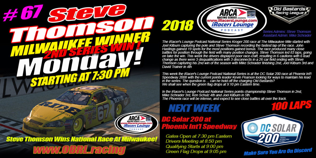 Steve Thomson #67 Ride TV Toyota Wins iRacers Lounge Podcast ARCA Series Race at The MIlwaukee Mile