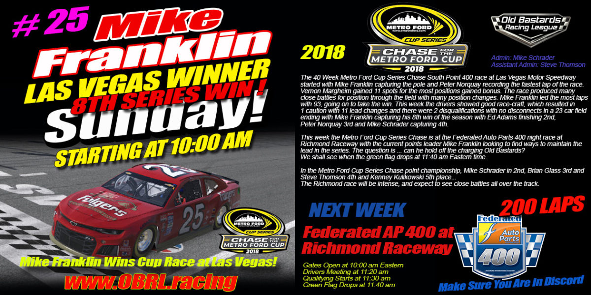 Mike Franklin Wins Nascar Metro Ford Cup Chase for the Cup Opener at Las Vegas Motor Speedway 2018