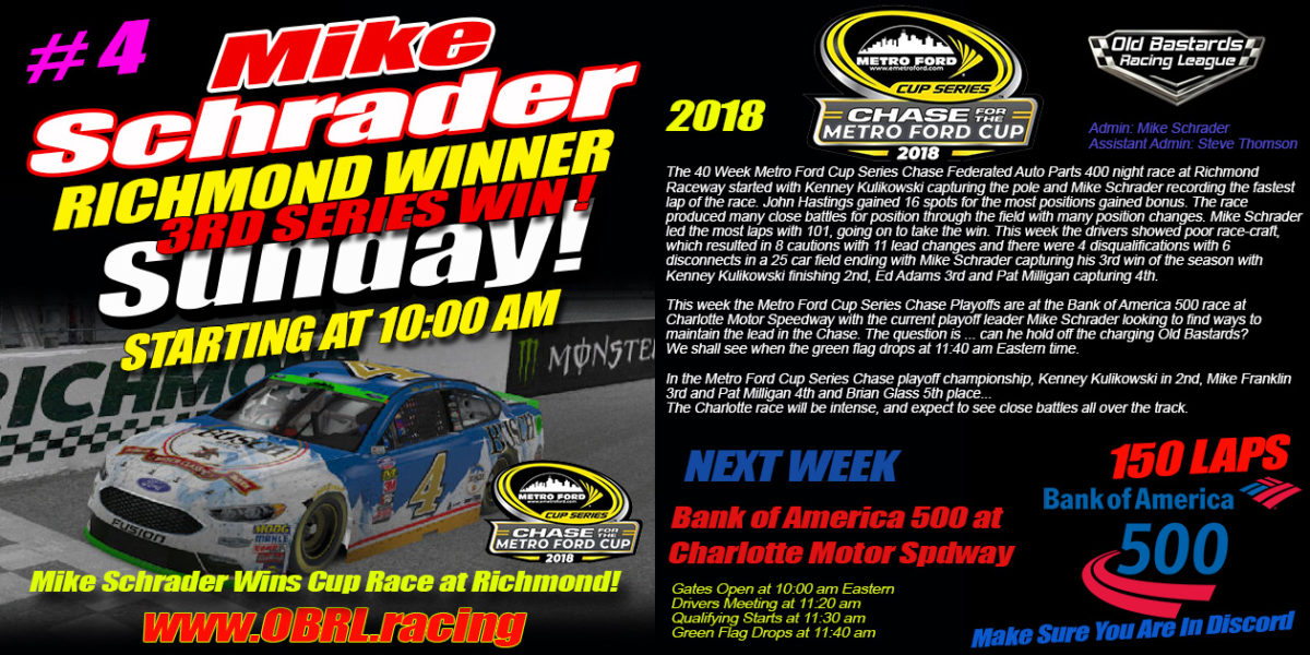 Mike Schrader Wins Nascar Metro Ford Cup Race at Richmond Raceway!