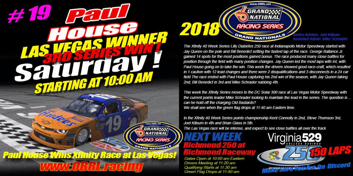 Paul House Wins OBRL iRacing Grand National race at Las Vegas Motor Speedway