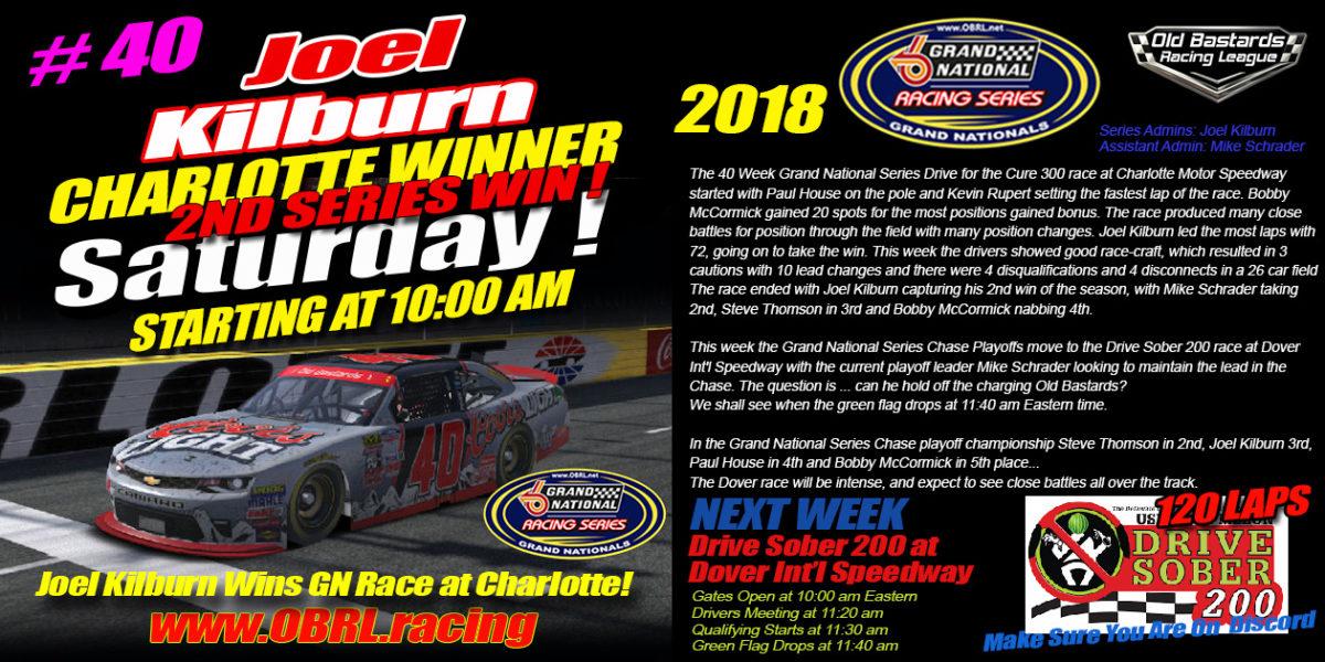 Joel Kilburn #40 Wins 2nd Round of the iRacing Nascar Grand National Chase Race at Charlotte!
