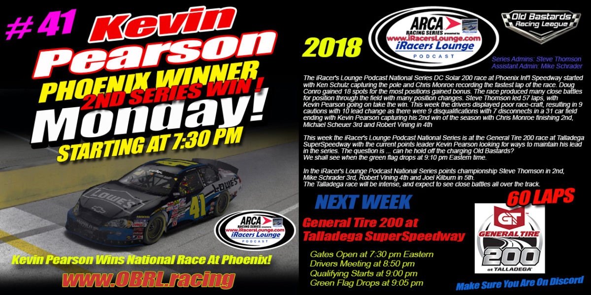 Kevin Pearson #41 Wins Big at The iRacers Lounge Podcast ARCA Race at Phoenix Int'l Raceway!