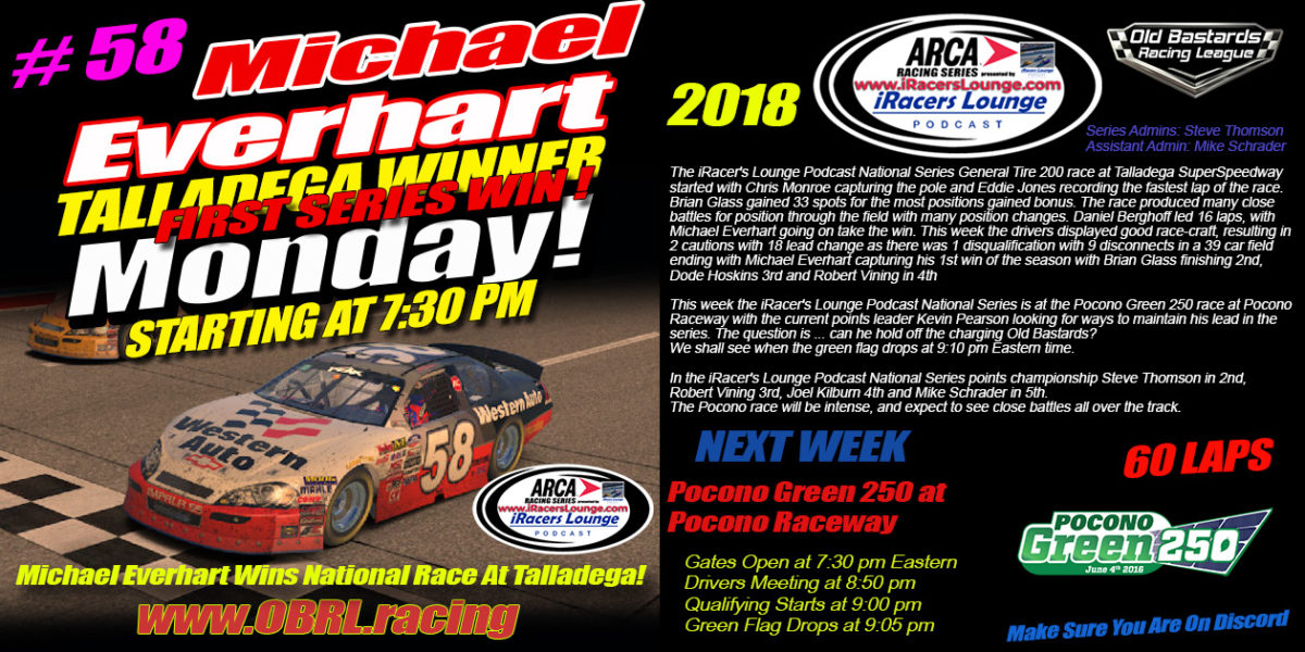 Michael Everhart Wins iRacers Lounge Podcast ARCA National Series Race At Talladega SuperSpeedway