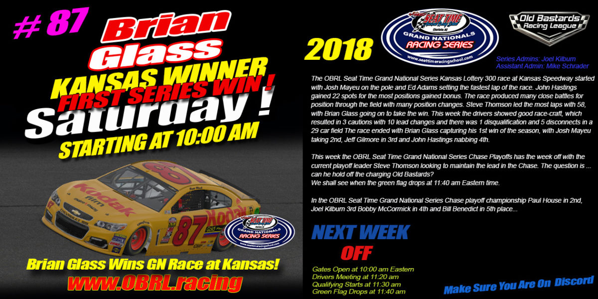 Brian Glass #87 Wins Inaugural Seat Time Racing School Nascar Grand National Race at Kansas!
