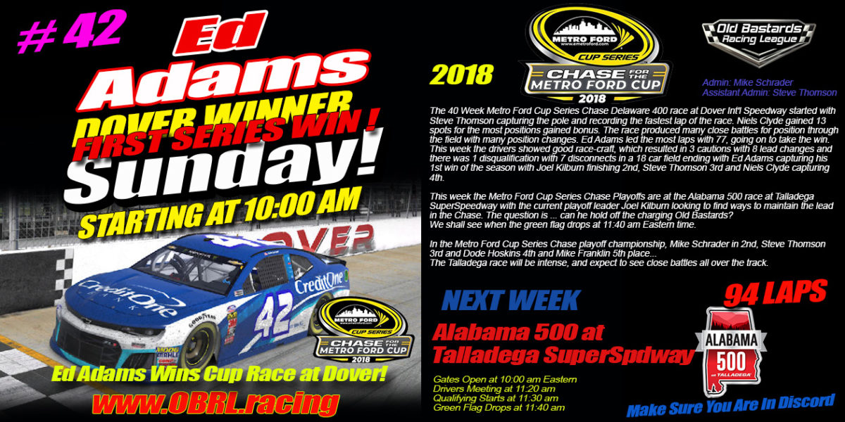 Metro Ford Cup Chase Winner Ed Adams at Dover International Speedway