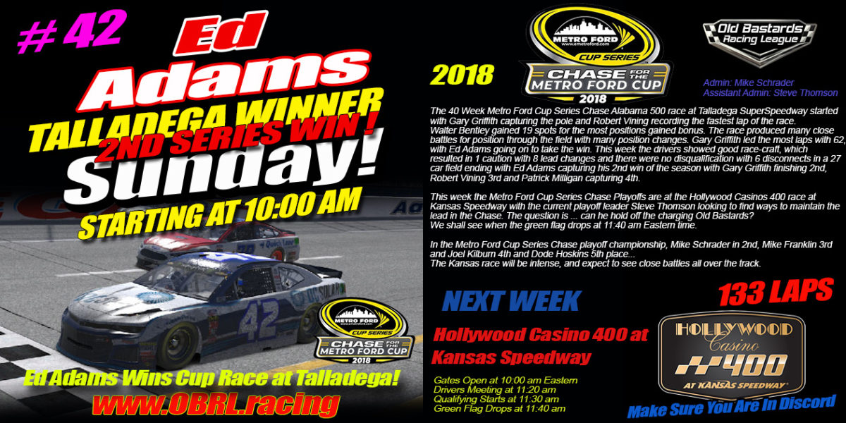 Ed Adams #42 Wins 2nd in a Row Nascar Metro Ford Chase For The Cup 2nd Round of 12 Race At Talladega!