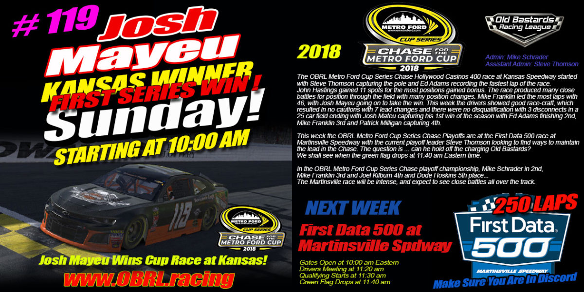 Josh Mayeu Wins Nascar Metro Ford Chase For The Cup 3rd Round of 12 Race At Kansas!