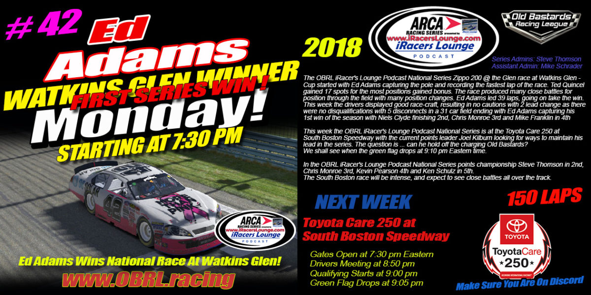 Ed Adams #42 Wins iRacers Lounge Podcast ARCA National Series Road Race At Watkins Glen