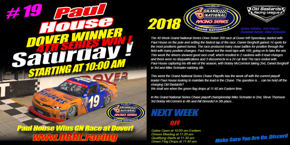 Paul House Wins Nascar Grand National Racing Series Winner at Dover International Speedway
