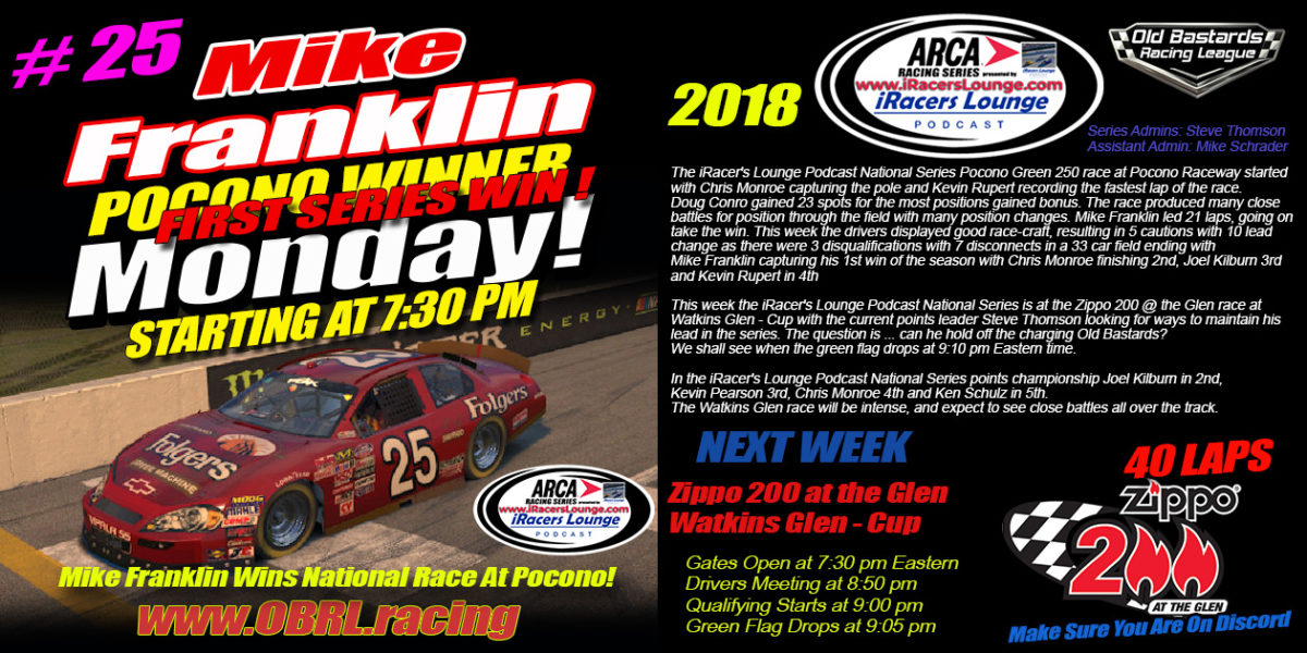 iRacers Lounge Podcast ARCA Race at Pocono Raceway Winner Mike Franklin