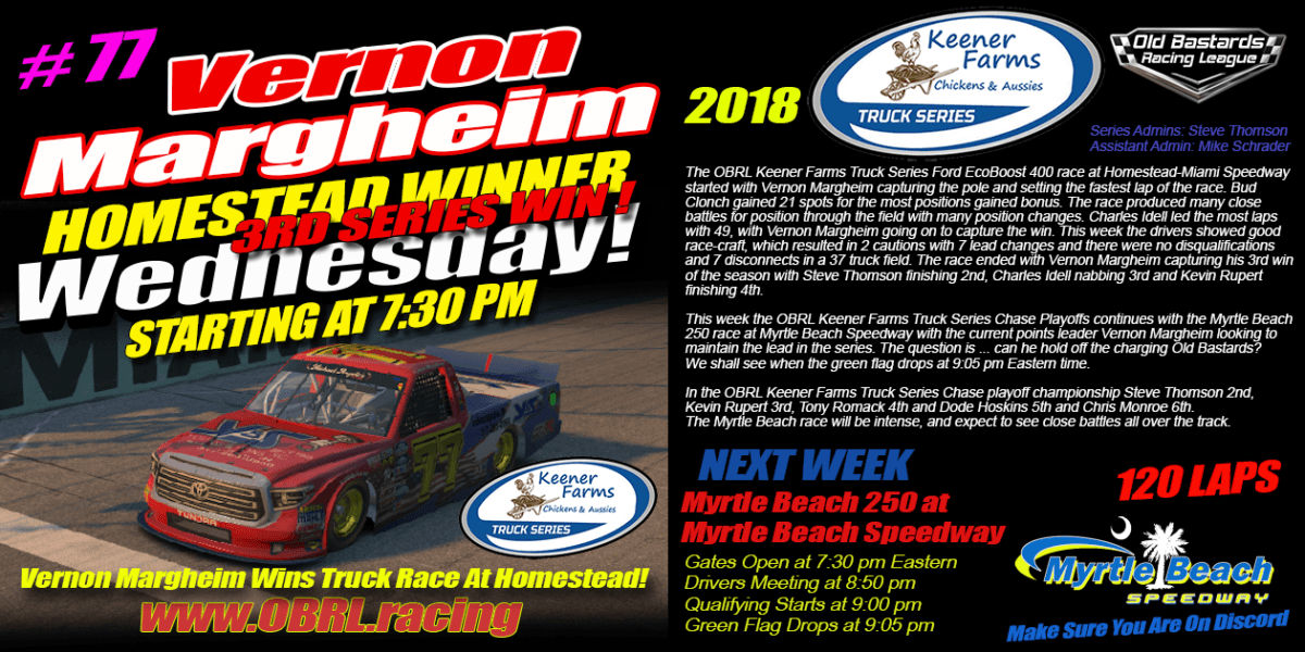 Vernon Margheim Wins 2nd In A Row at Homestead Miami Race In The Keener Farms Truck Race! iRacing Fixed Nascar Keener Farms Truck League on Wednesday Nights