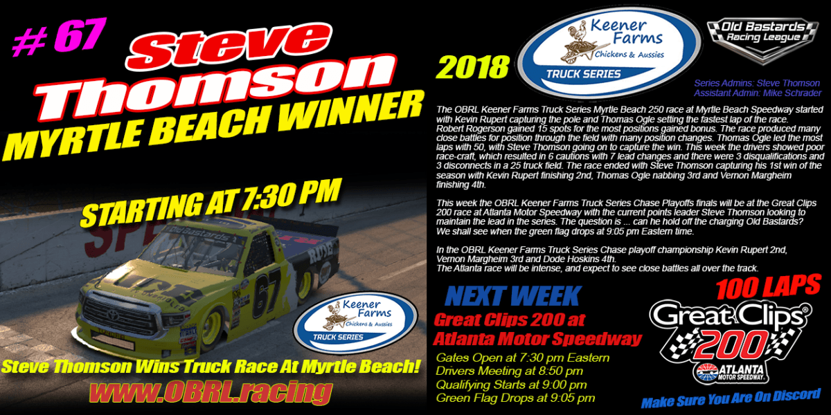 Steve Thomson Wins Truck Race At Myrtle Beach!