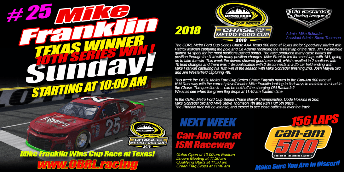 🏁Mike Franklin Wins Nascar Metro Ford Chase For The Cup 2nd Round of 8 Race At Texas Speedway!