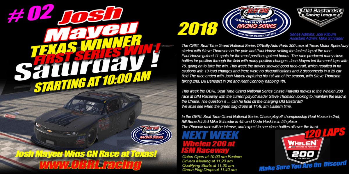 Josh Mayeu #02 Wins Buck Baker's Seat Time Racing School Nascar Grand National Race at Texas Motor Speedway! Nascar iRacing Saturday Morning Grand National Fixed Oval iRacing League.