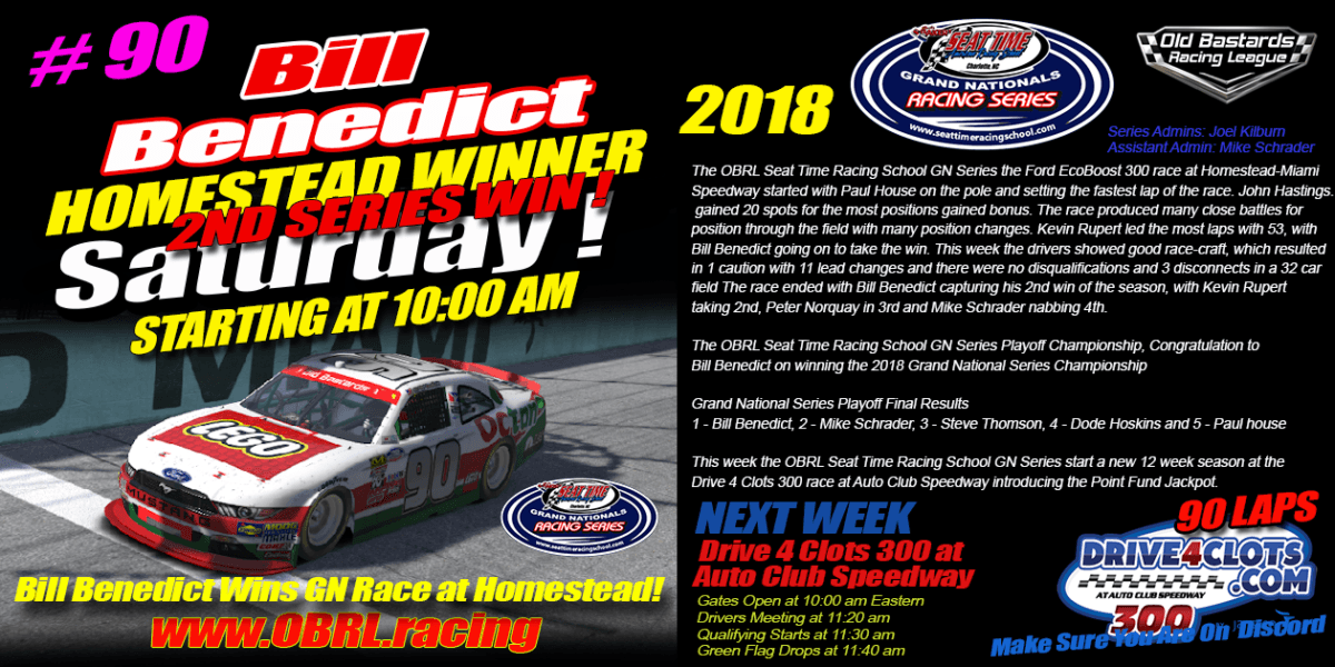 🏁Bill Benedict Wins Race and Championship in Seat Time Racing School Nascar Grand National Race at Homestead!