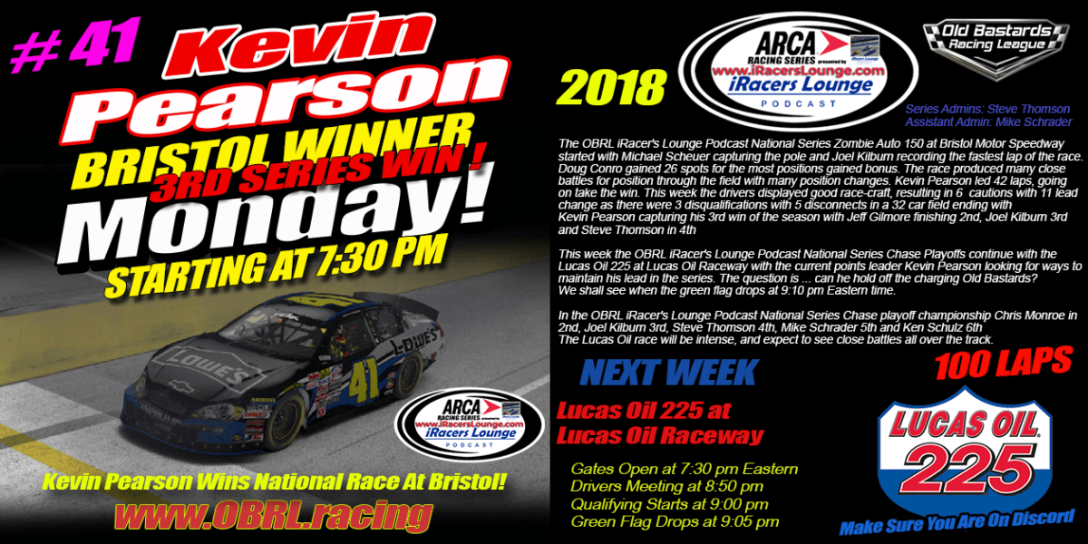 🏁Kevin Pearson #41 Wins iRacers Lounge ARCA Grand National Series At Bristol
