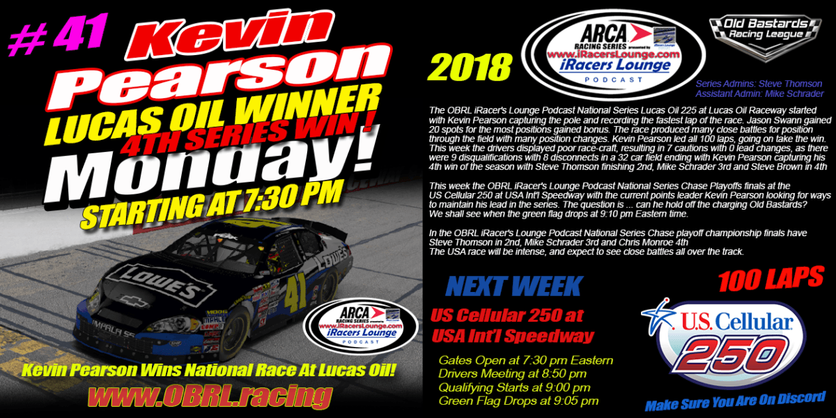 🏁Kevin Pearson #41 Wins iRacers Lounge ARCA National Series At Lucas Oil Speedway!