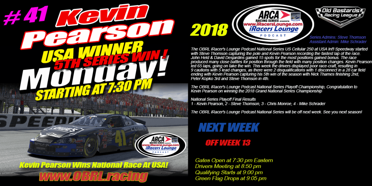 🏁Kevin Pearson #41 Wins iRacers Lounge ARCA Championship and Race At USA Int'l Speedway!