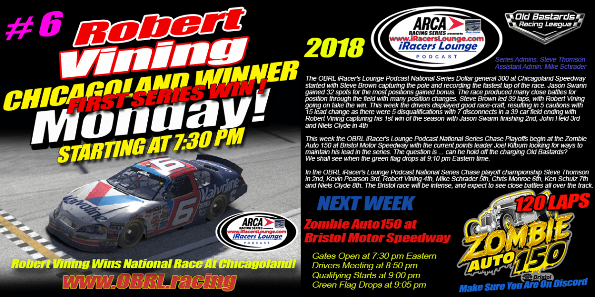 Robert Vining #6 Wins iRacers Lounge Podcast ARCA National Series At Chicagoland