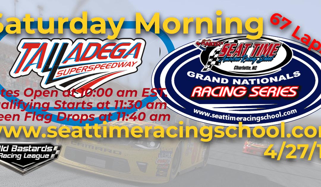 🏁WINNER: Bobby McCormick #31! Week #11 Seat Time Driving School Grand Nationals Series Talladega SuperSpeedway 4/27/19 Saturday Mornings