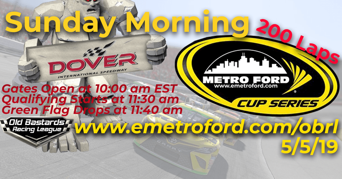 iRacing Nascar Monster Energy League Metro Ford Cup Race at Dover International Speedway