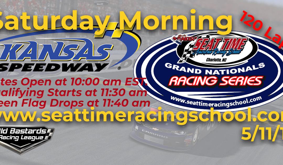 🏁WINNER: Ed Larson Adams #42! Week #13 Seat Time Racing Experience Grand Nationals Series Kansas Speedway 5/11/19 Saturday Mornings
