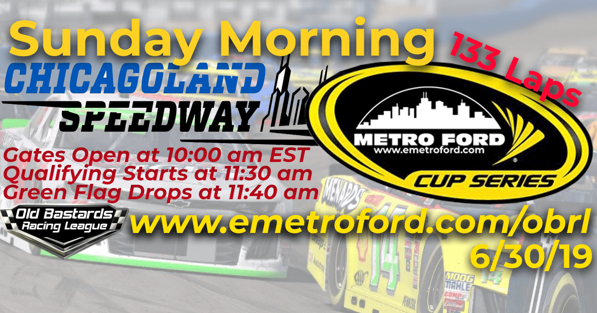 iRacing Nascar Monster Energy League Metro Ford Cup Race at Chicagoland Speedway