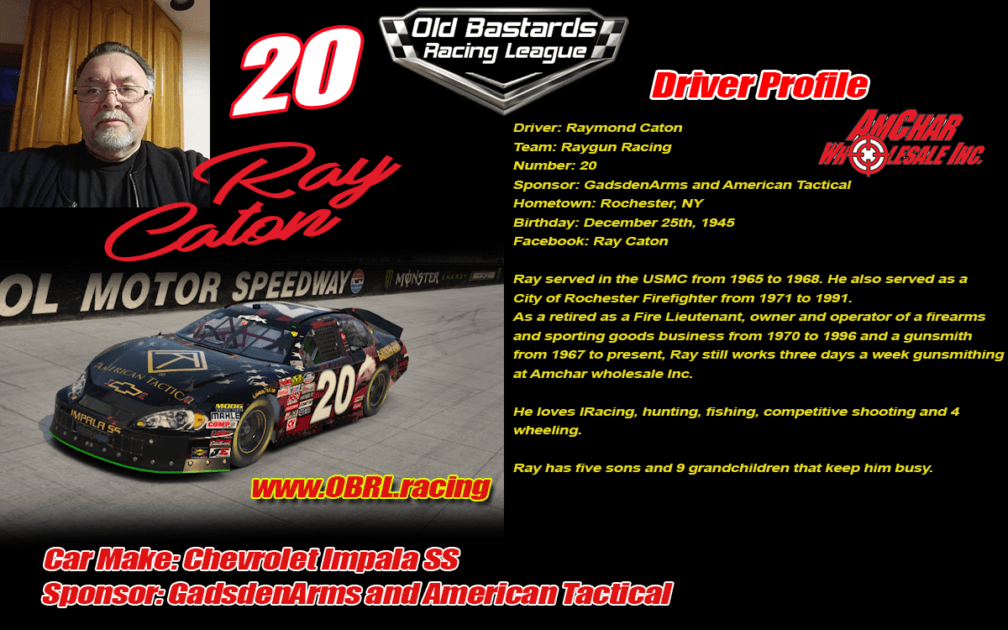 Ray Caton #20 - Nascar Metor Ford Cup Driver #20 - Gadsen Arms and American Tactical