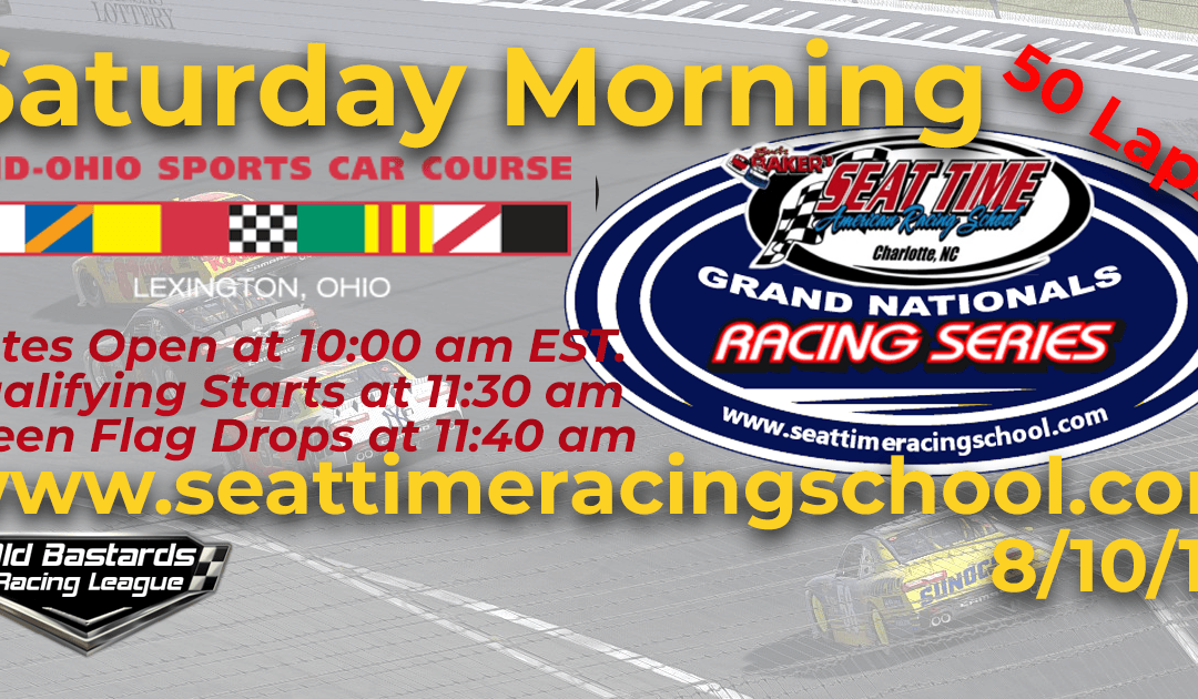 🏁WINNER: Mike Watts! Week #26 STRS Seat Time Racing School Grand Nationals Series Mid Ohio Sports Car Course – 8/10/19 Saturday Mornings