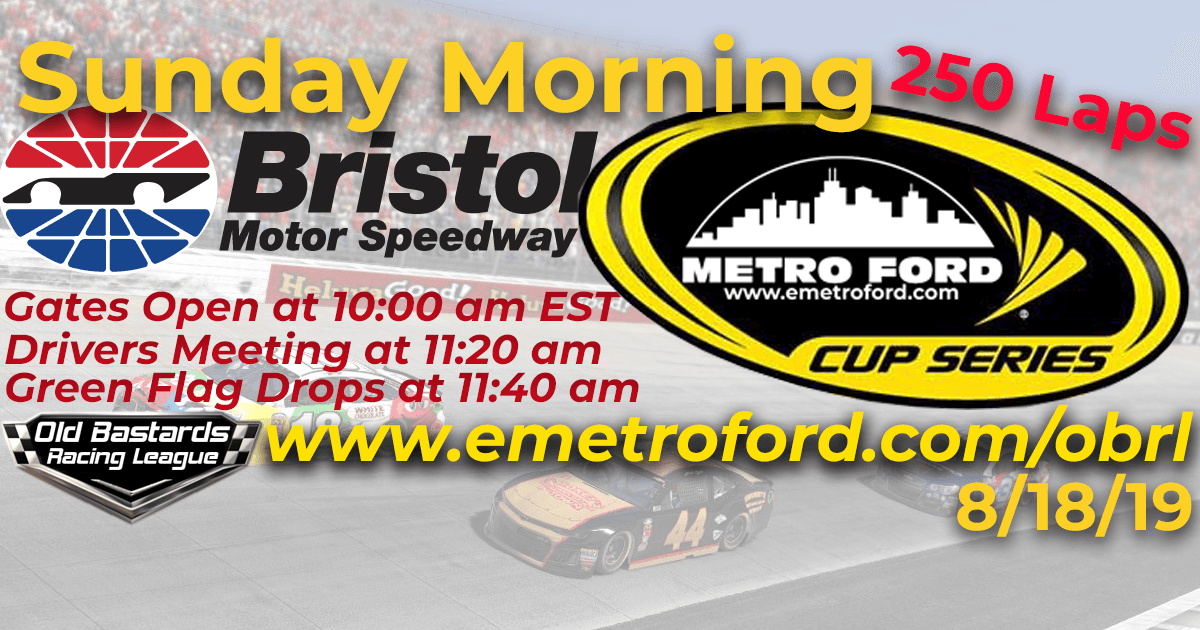 iRacing Nascar Metro Ford Cup Race at Bristol Motor Speedway