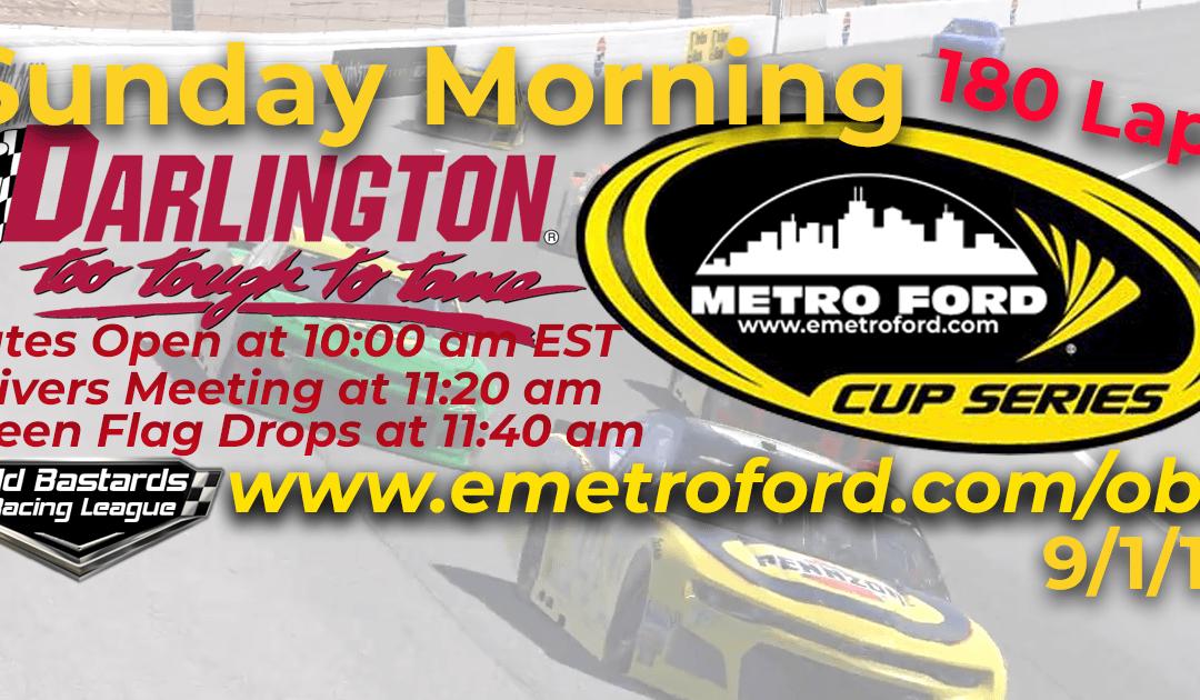 🏁WINNER: Ed Adams #42! Week #29 Metro Ford Cup Series Race at Darlington Raceway- 9/1/19 Sunday Mornings