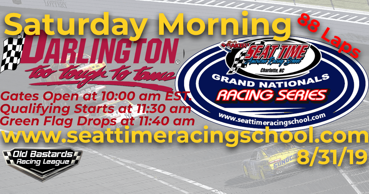 Seat Time Racing Experience Xfinity iRacing League Grand Nationals Race at Darlington Raceway