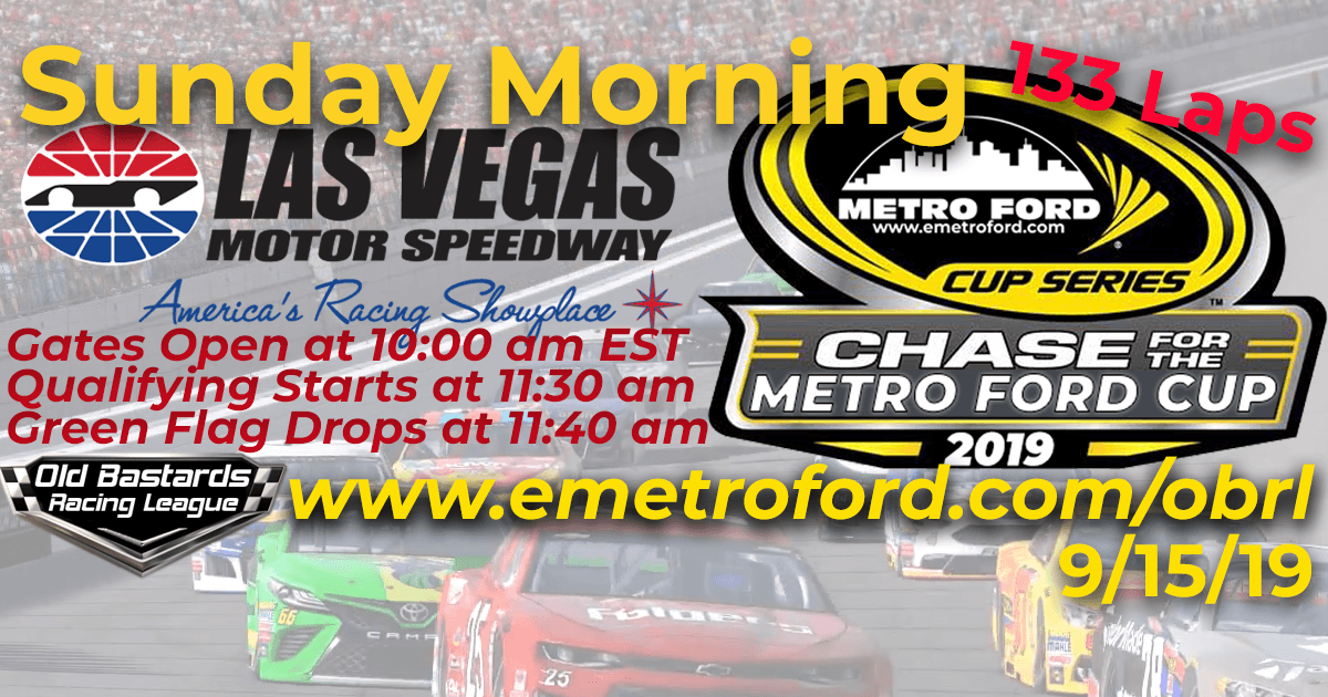 Nascar iRacing Chase for the 2019 Metro Ford Cup Playoff Race at Las Vegas Motor Speedway