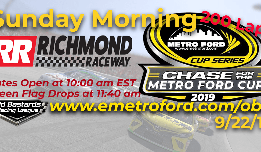 Week #32 Metro Ford Cup Series Race at Richmond Raceway – 9/22/19 Sunday Mornings