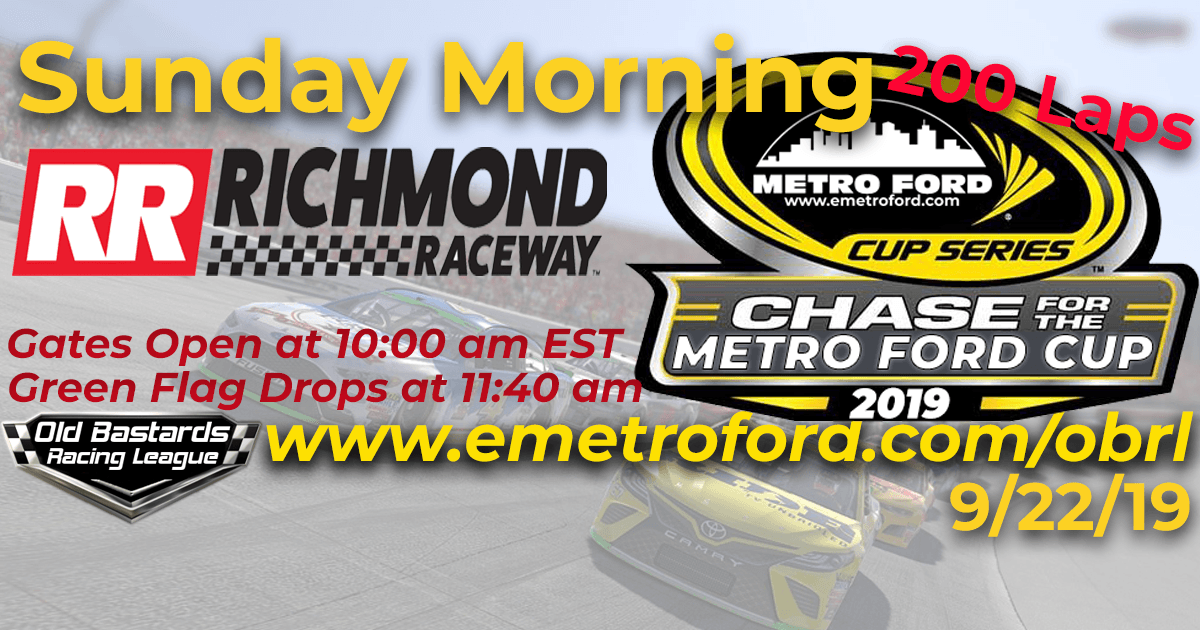 Nascar Chase for the 2019 Metro Ford Cup Playoff Race at Richmond Raceway