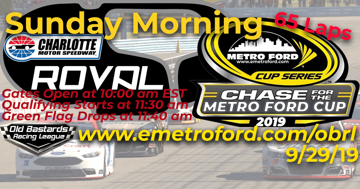 Chase for the 2019 Metro Ford Cup Playoff Race at Charlotte Roval Speedway