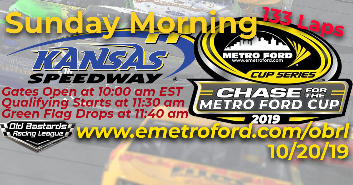 Nascar iRacing League Chase for the 2019 Metro Ford Cup Playoff Race at Kansas Speedway