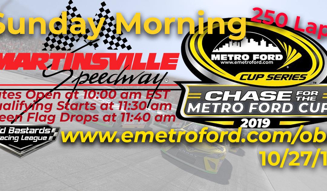 🏁WINNER: Steve Thomson #67! Week #37 Metro Ford Cup Series Race at Martinsville Speedway – 10/27/19 Sunday Mornings
