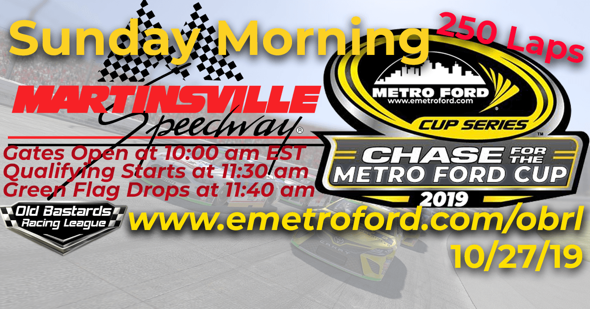 Nascar iRacing Chase for the 2019 Metro Ford Cup Playoff Race at Martinsville Speedway