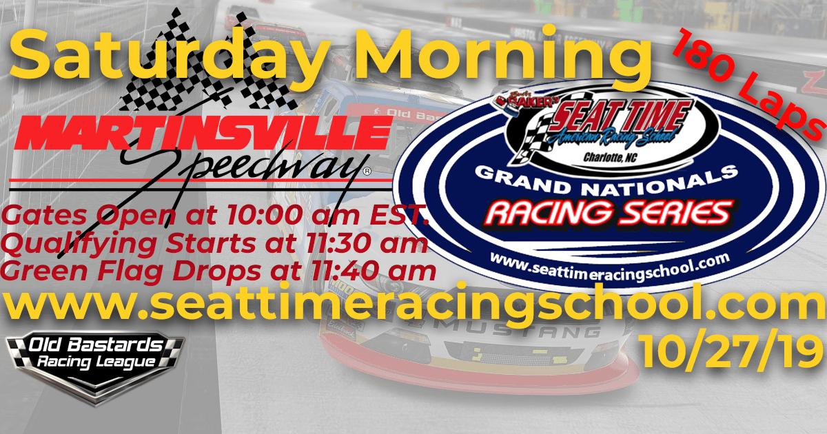 Seat Time Racing School Nascar Xfinity Grand Nationals Playoff Race at Martinsville Motor Speedway