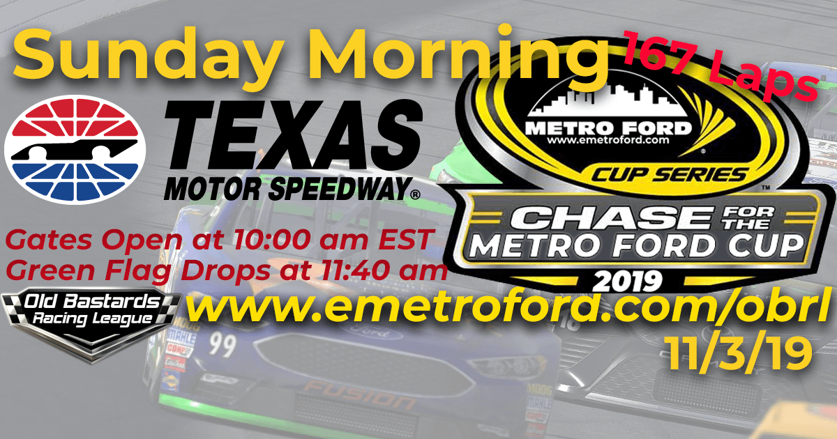 Nascar Chase for the 2019 Metro Ford Cup Playoff Race at Texas Motor Speedway