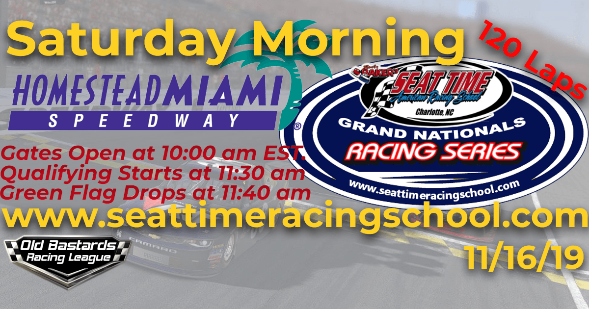 Seat Time Racing Experience Championship Grand Nationals Race at Homestead Miami Speedway