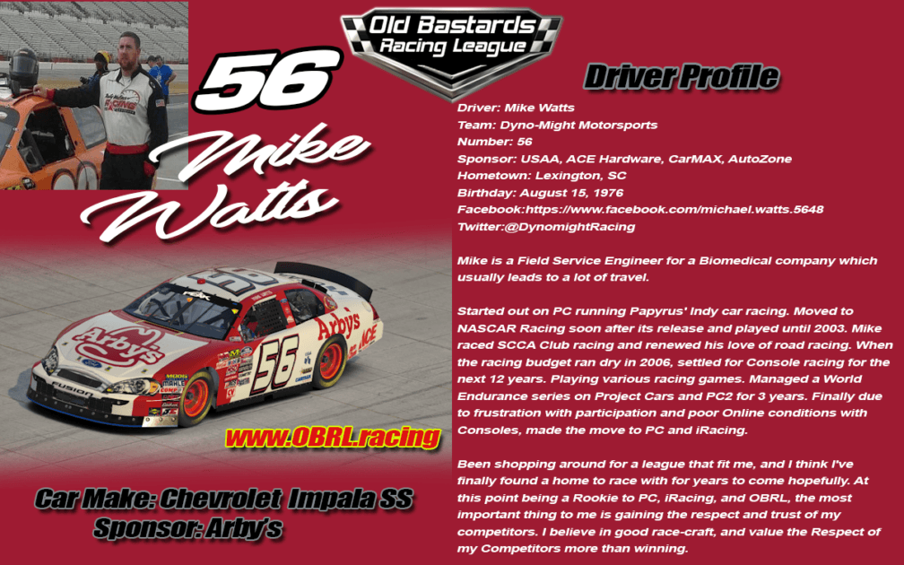 Mike Watts #56 - Nascar Metro Ford Cup Driver #56 - USAA - ACE Hardware