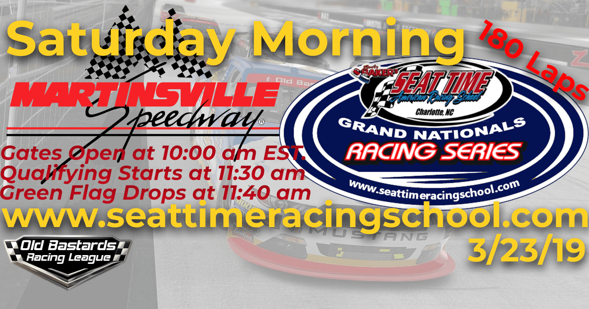 Seat Time Racing Experience Xfinity iRacing League Grand Nationals Race at Martinsville Speedway