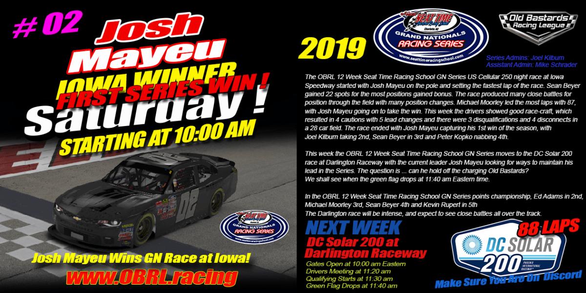 Josh Mayeu Wins Seat Time Racing Experience Grand National Race at Iowa Speedway