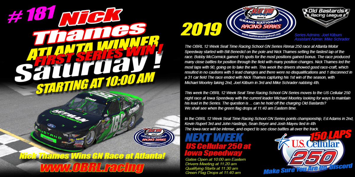 Nick Thames Wins Race in Seat Time Racing School Grand National Race at Atlanta Motor Speedway