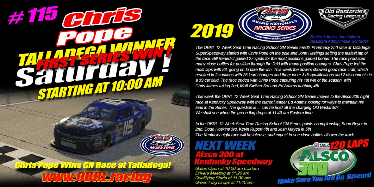 Christopher Pope Wins STRS Seat Time Racing School Grand National Race at Talladega SuperSpeedway!
