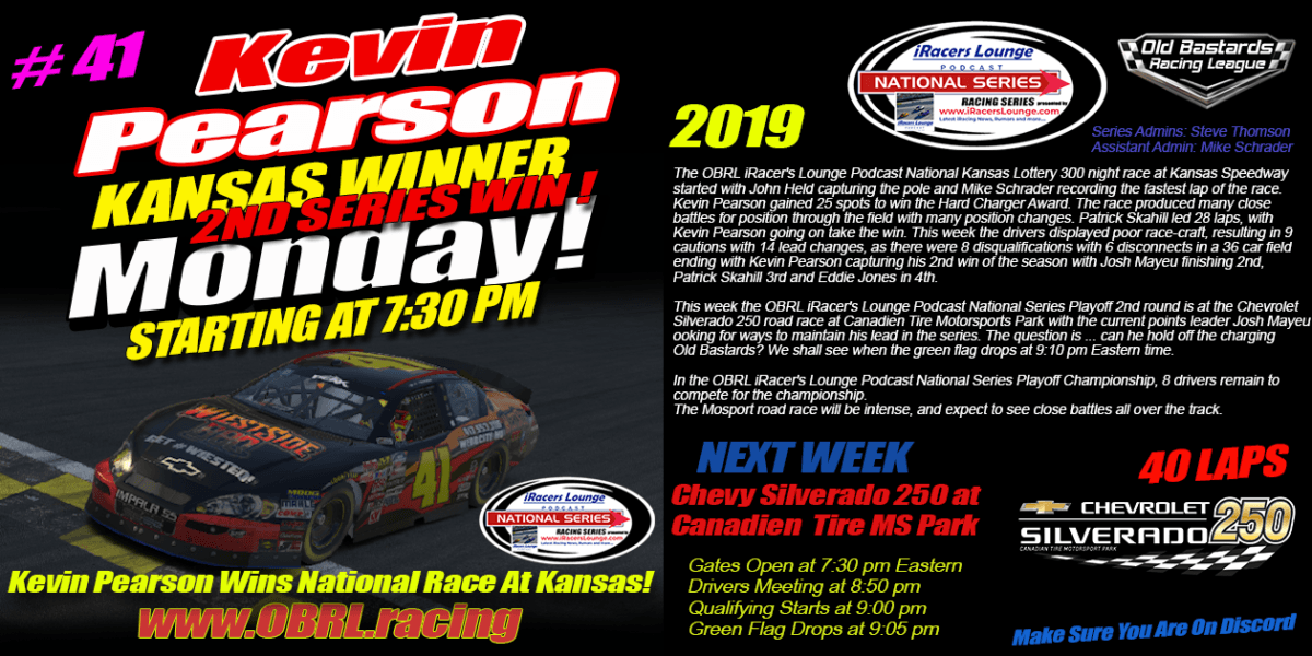 Kevin Pearson #41 Wins eNascar iRacers Lounge National Series Race at Kansas Speedway!