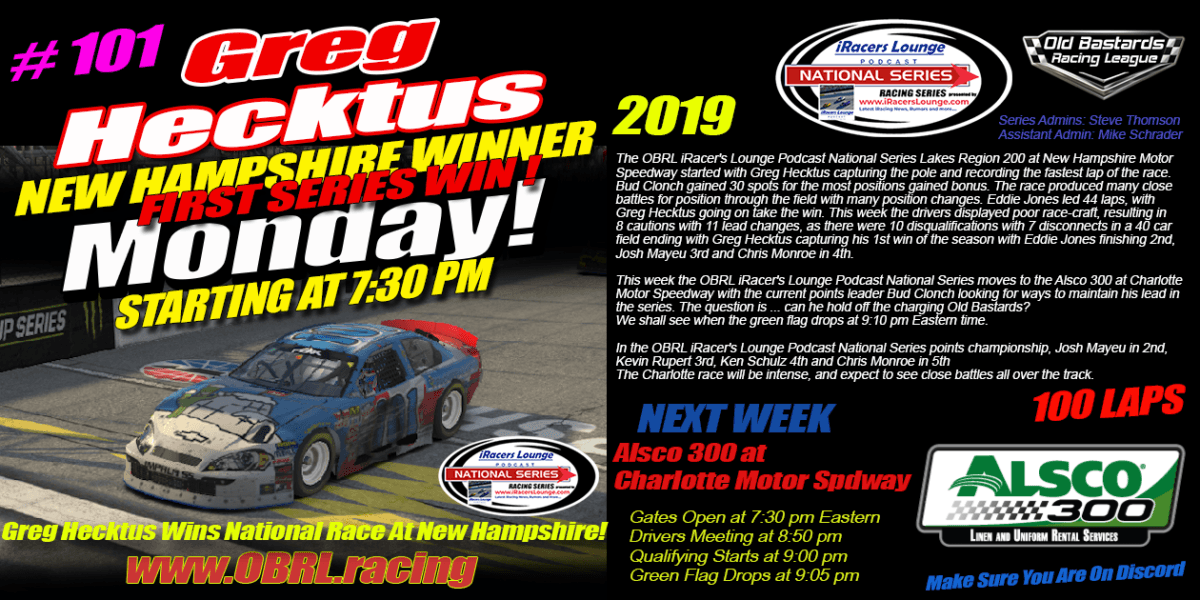 Professional Podcaster Greg Hecktus Wins iRacers Lounge National Series Race At New Hampshire!